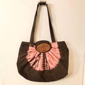 Tie Dye Festival Boho Handbag Wooden Floral Detail